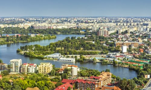 Bucharest, Romania - August 16, 2013: Picturesque aerial view of the Tei Lake (Linden Tree Lake) and its neighborhood in the Bucharest Northern Side.